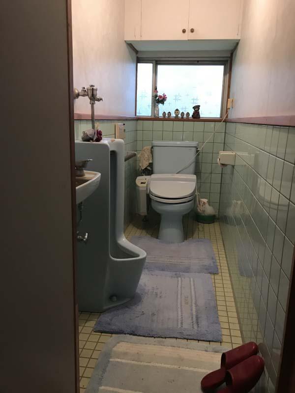 トイレには洋式水洗とともに男子小便器も